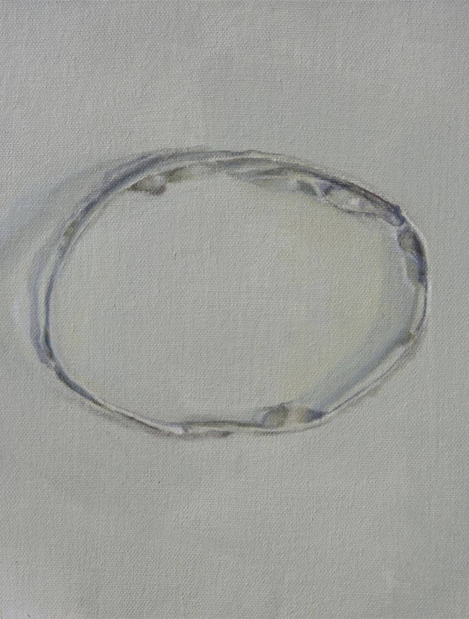 Tin Ring Silver White, oil on canvas, 8 X 10 inches, 2011