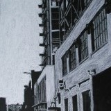 city streetscape - conte crayon on paper