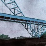 blue bridge - watercolor on paper