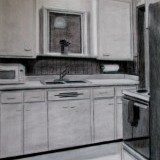 kitchen perspective - conte crayon on paper