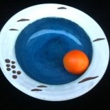Birch Serving Bowl Interior glaze choices:turquoise, medium blue(pictured) or natural wood grain.