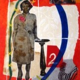 Stand, Willie Mae, Copyright 2016, 14x18 collage on canvas panel comprised of papers, photography and acrylic paints.