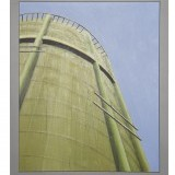 Prescott , partial water tower , 14 x 17 inches , acrylic  on board wood , painted wood frame.  $275.