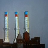 Detroit , 3 smoke stacks , 12 x12 inches , SOLD