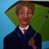 Man with umbrella , 2 x 4 feet  , Acrylic paint on canvas over plywood.
